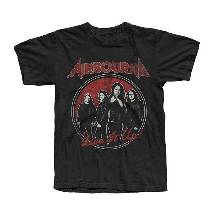Airbourne - Black Live It Up Mens T-Shirt - Airbourne