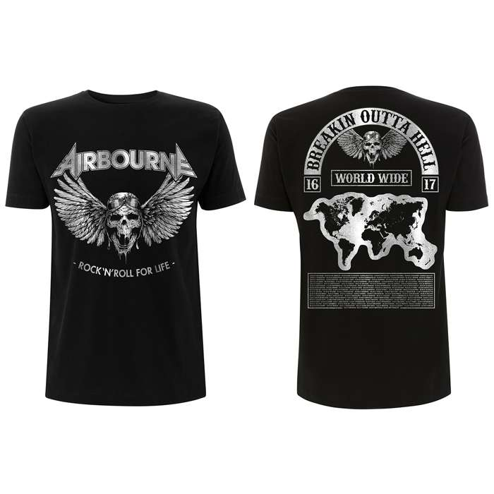 Airbourne - Rock N Roll Mega Tour – Black T-Shirt - Airbourne
