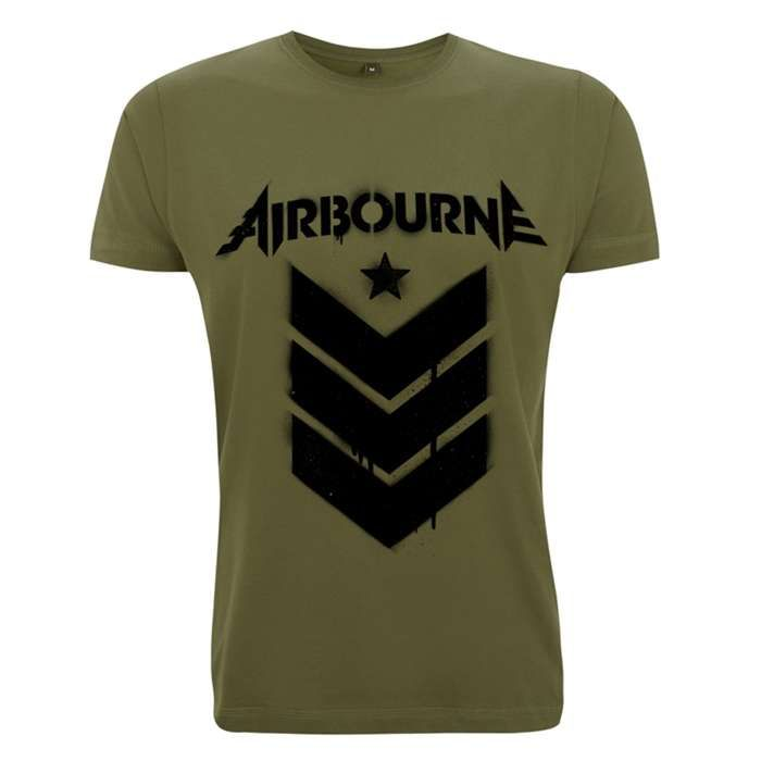 Stencil Stripes - Olive Green Tee - Airbourne
