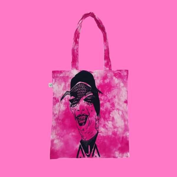 Pink Hand Tie Die Screen Printed Tote Bag Eco Cotton Organic - AJA