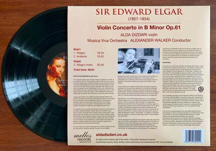 Elgar Violin Concerto VINYL - Alda Dizdari
