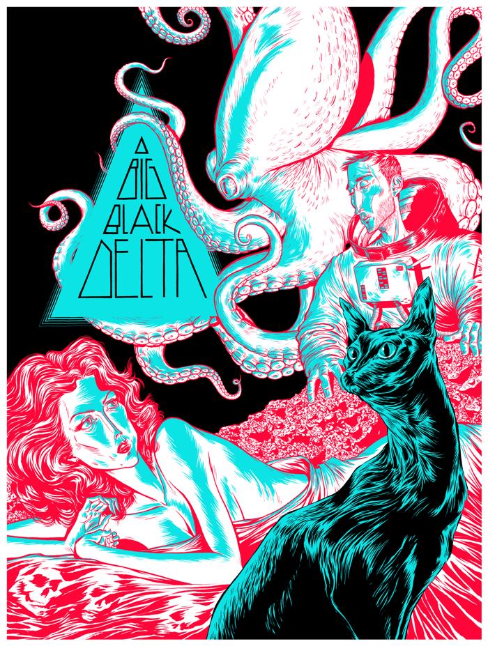 Huggin & Kissin - Ltd Edition Art Print - Big Black Delta