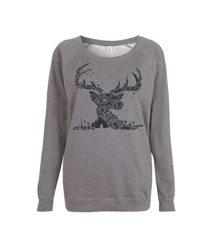 Womens Dark Heather Mosaic Sweatshirt - Black Deer Festival