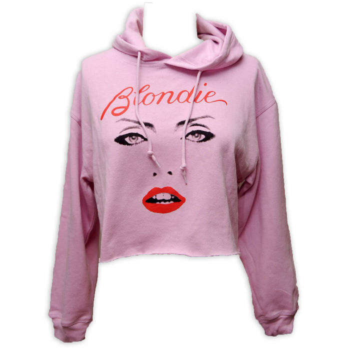 WOMENS PINK FACE CROP HOODIE - BlondieUS