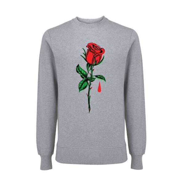 Big Rose – Grey Sweatshirt - Blue October