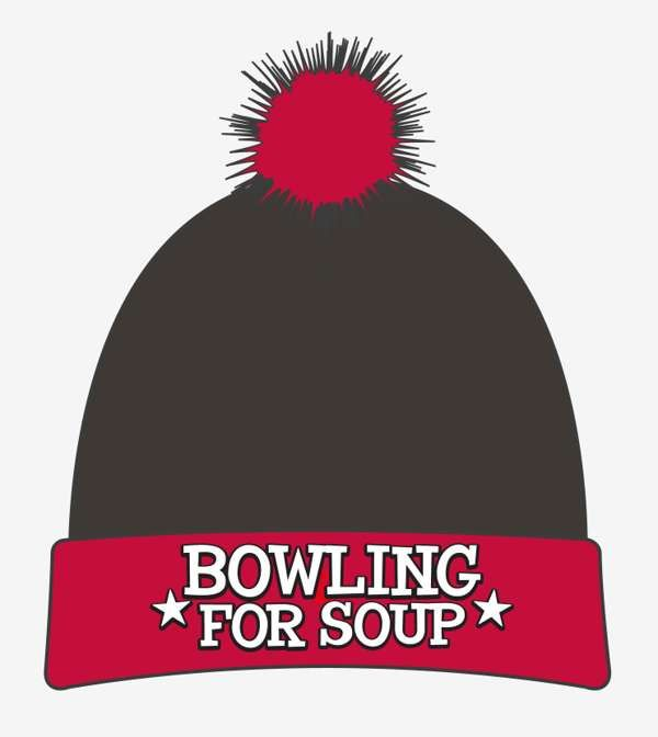 Embroidered Logo (Black / Red) - Bobble Hat - Bowling For Soup