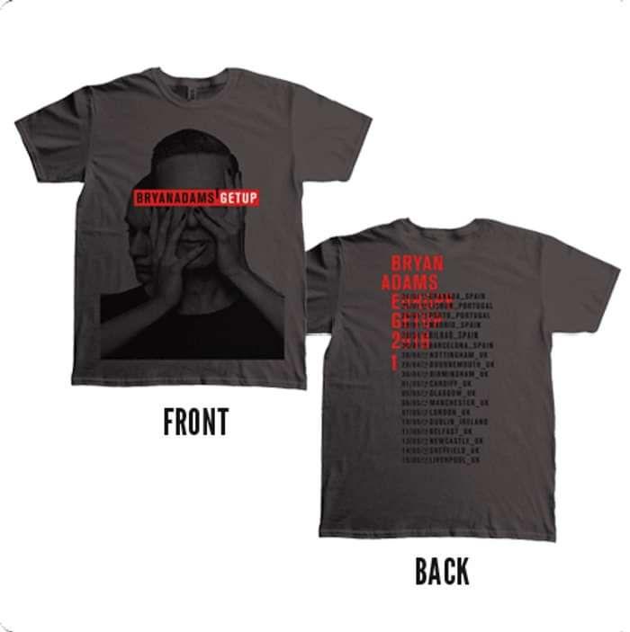 Get Up Album Dateback - Charcoal Grey Tee - Bryan Adams