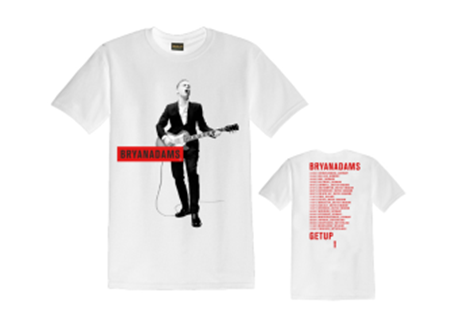 Red Text Box – 2017 White Tee - Bryan Adams