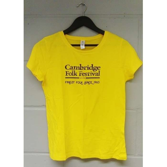 Ladies Cambridge Folk T-shirt (Yellow) - Cambridge Folk Festival