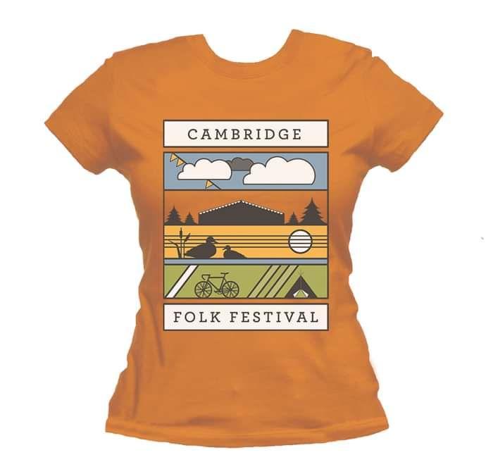 Ladies Graphic Landscape T-shirt (Orange) - Cambridge Folk Festival
