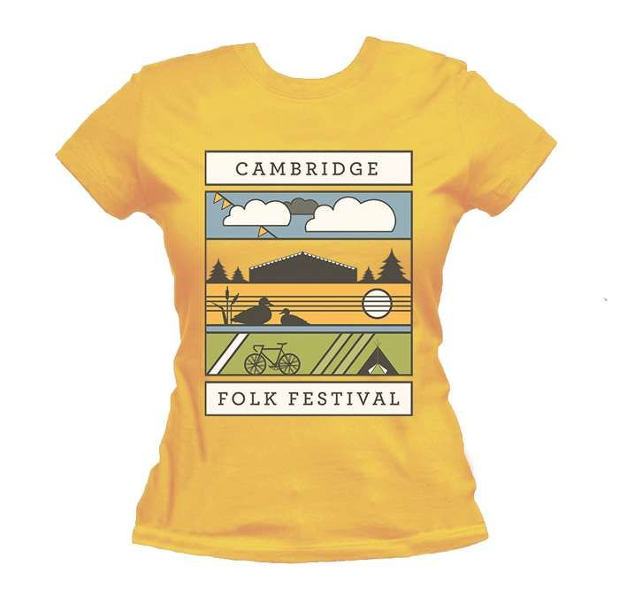 Ladies Graphic Landscape T-shirt (Yellow) - Cambridge Folk Festival