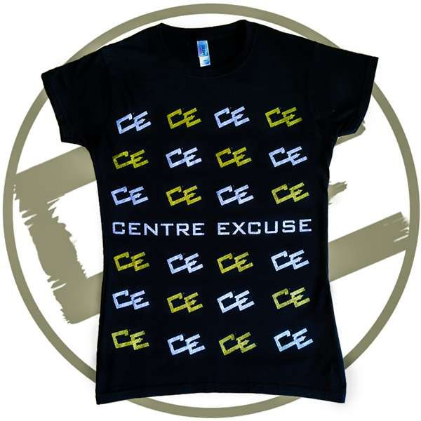 GOLD & SILVER 'MULTI-CE' T-SHIRT - Black (Ladies Slim Fit)-FREE UK Delivery - Centre Excuse