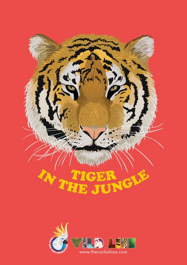 Tiger in the Jungle Poster - Coco and the Cockatoos
