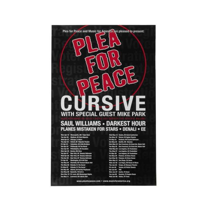 Cursive Poster - Plea for Peace Tour 2004 - Cursive