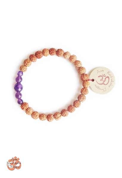 Aum Rudraksha Amethyst Bracelet - Deva Premal & Miten USD
