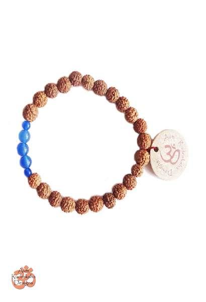 Aum Rudraksha Blue Agate Bracelet - Deva Premal & Miten USD