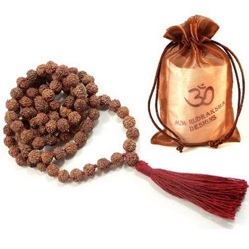 Aum Rudraksha Mala - 108 beads - 8mm - Deva Premal & Miten USD
