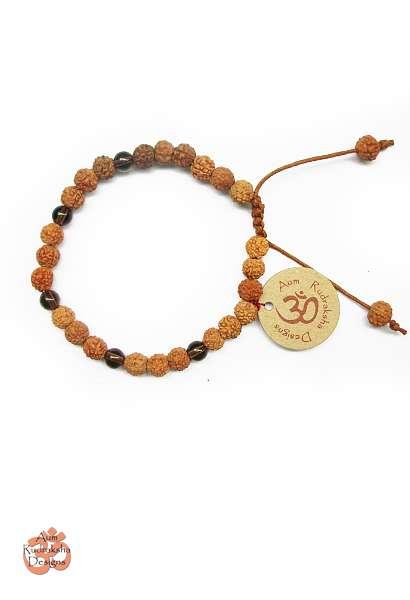 Aum Rudraksha Smokey Quartz Bracelet - Adjustable size - Deva Premal & Miten USD