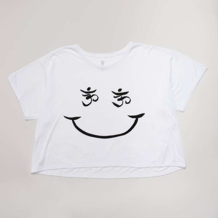 Smiley Face Crop  Shirt White - Devendra Banhart