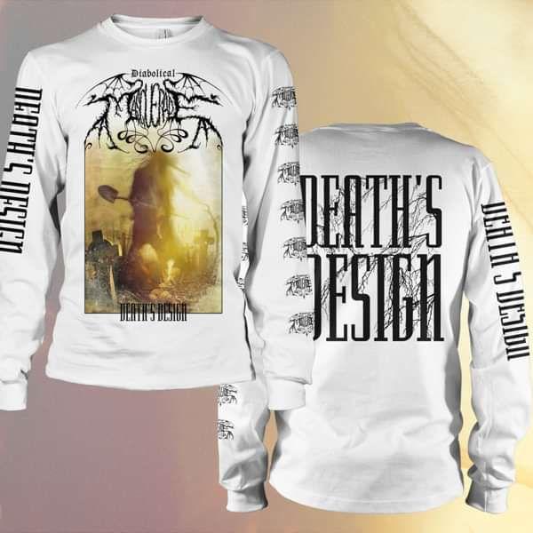 Diabolical Masquerade - 'Death's Design' White Longsleeve T-Shirt - Diabolical Masquerade