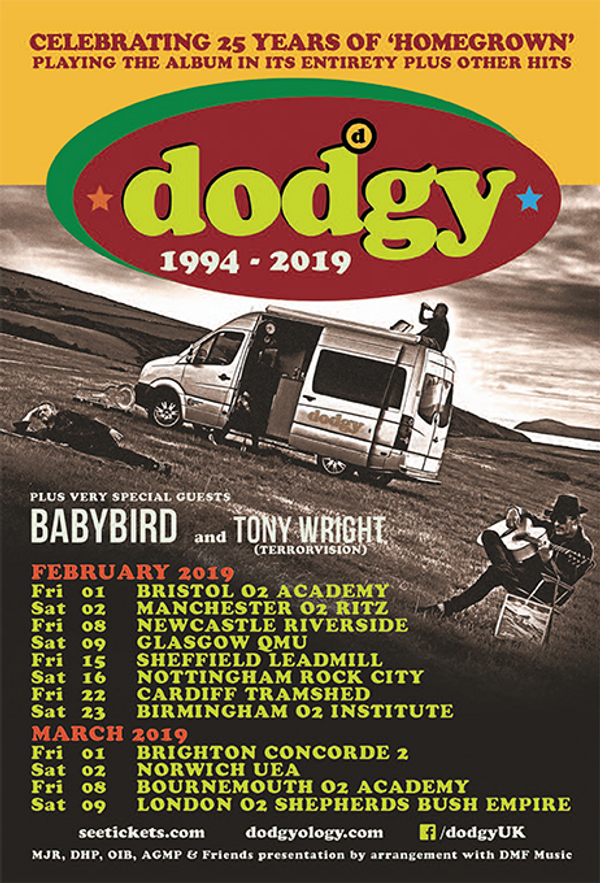 Dodgy: Homegrown 25 years tour poster - Dodgy