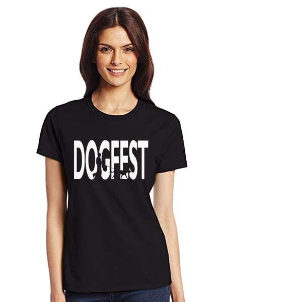 """Dogfest """"Dogwalker"""" Womens Blk Tee - Dogfest"""