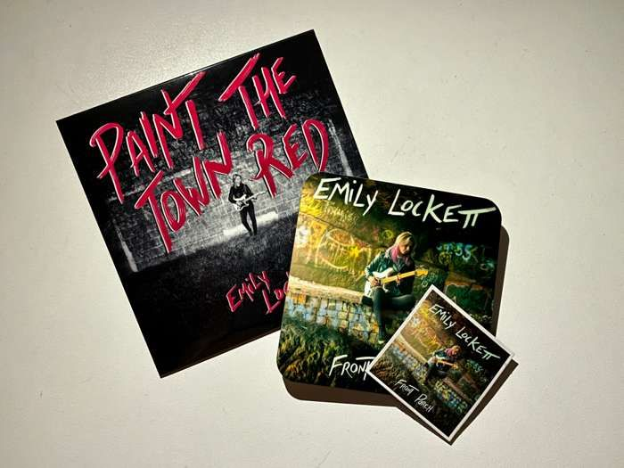 Bundle - Paint the Town Red CD (2020) includes Front Porch coaster + fridge magnet - Emily Lockett Music