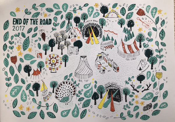 2017 Screenprinted Poster - trees - End of the Road Festival