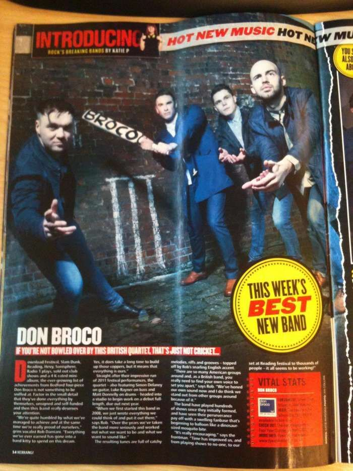 Don Broco Cricket Bat - Used in Kerrang Introducing Feature - Five4Five Fest