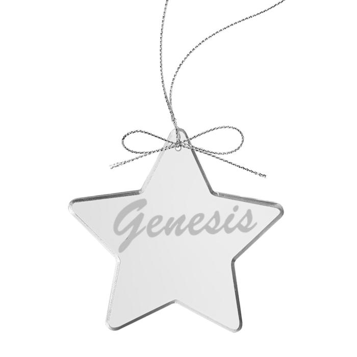 Circa 80s Logo Star Laser-Etched Glass Ornament - Genesis