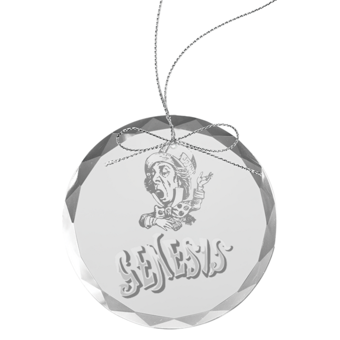 Mad Hatter Round Laser-Etched Glass Ornament - Genesis