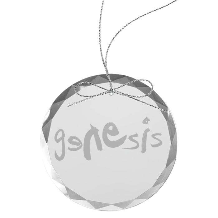 Modern Logo Round Laser-Etched Glass Ornament - Genesis