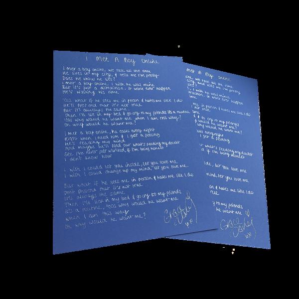 i met a boy online handwritten lyric sheet - Grace Davies