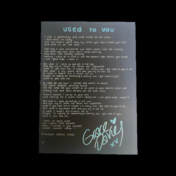 used to you handwritten lyric sheet - Grace Davies