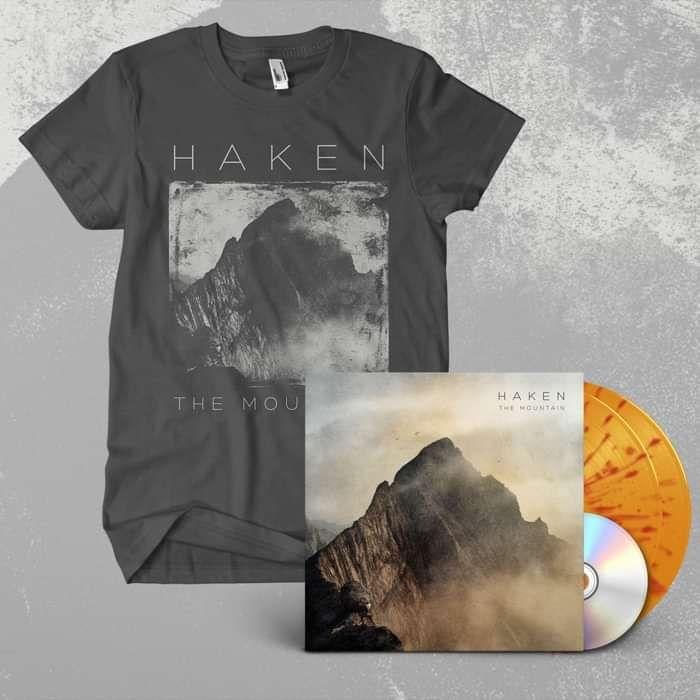 Haken - 'The Mountain' Yellow & Red Splattered Gatefold 2LP + CD + T-Shirt Bundle - Haken