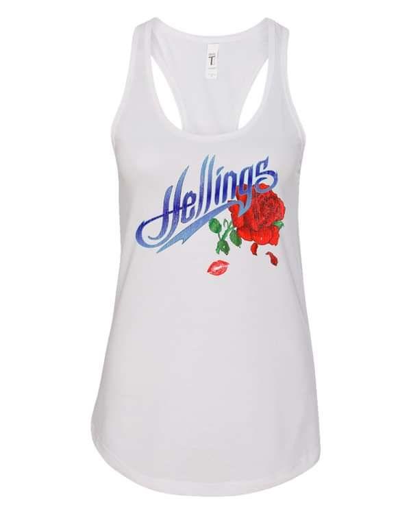 Women's White Hellings Logo Tank Top - DTG - Hellings