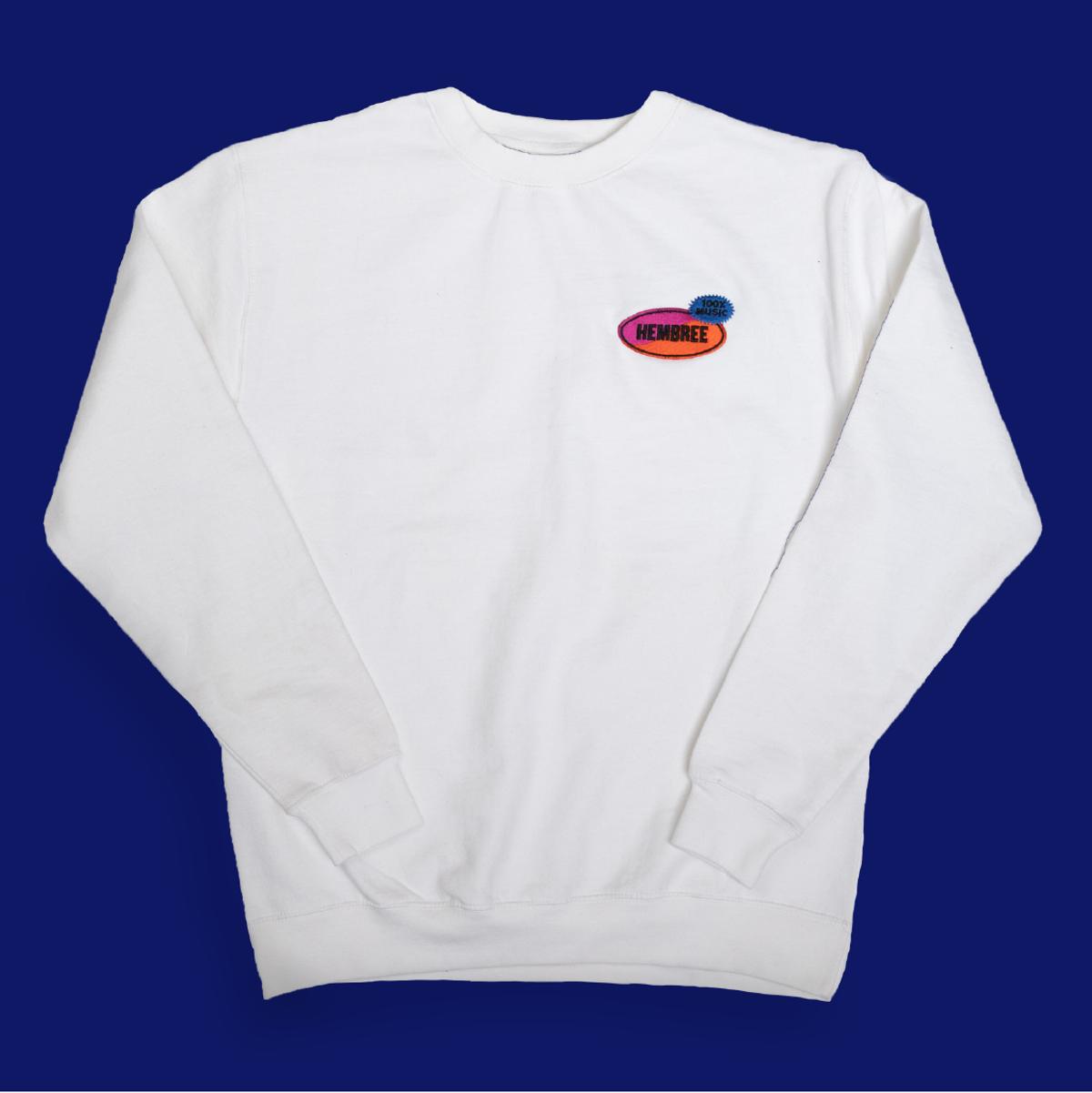 100% Music White Crewneck Sweatshirt - Hembree