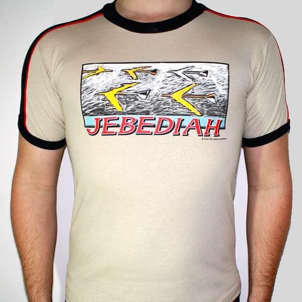 Aeroplane - Beige T-Shirt, Black Trim - Jebediah