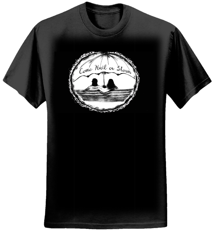 Come Hail or Storm - Black T-Shirt - Lovers on a public bench - Men - Jeremy Levif
