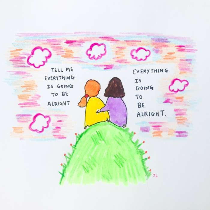 PINK SKY ALRIGHT HAND DRAWN - Jessie Cave