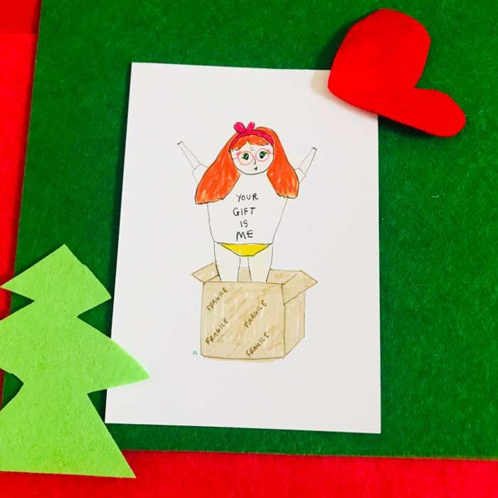 YOUR GIFT IS ME POSTCARD - Jessie Cave