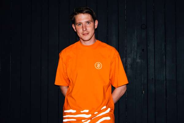 Orange 'Custom Made' Reflective Tee - Jungle Brown
