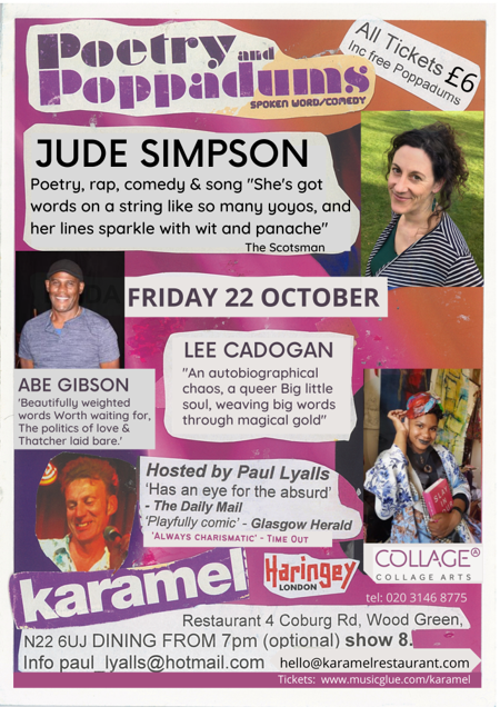 poster or flyer advertising event Poetry & Poppadums: Jude Simpson/Lee Cadogan/Abe Gibson