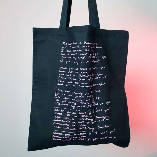 dab66724c736 Black tote Bag (Handwritten Lyrics) - Scruff of the Neck