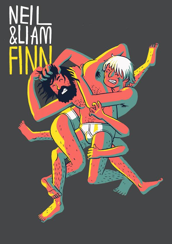Neil and Liam Finn Wrestling T-Shirt - Liam Finn