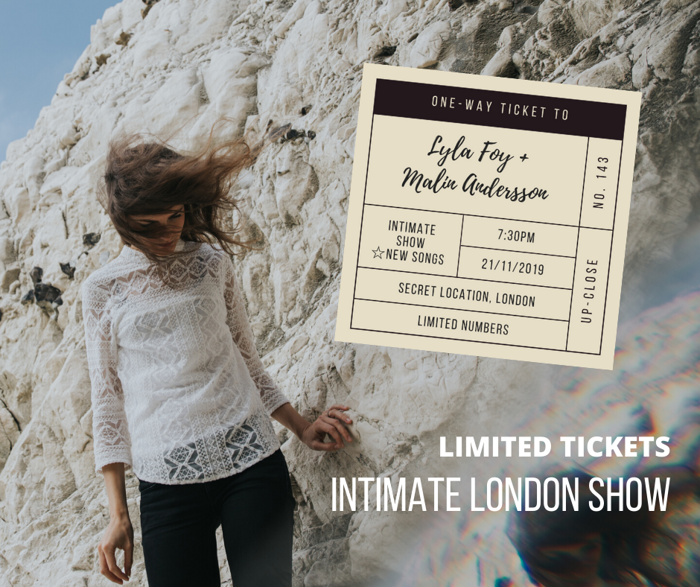 LIMITED TICKETS, Secret Location intimate show, central LONDON - Malin Andersson