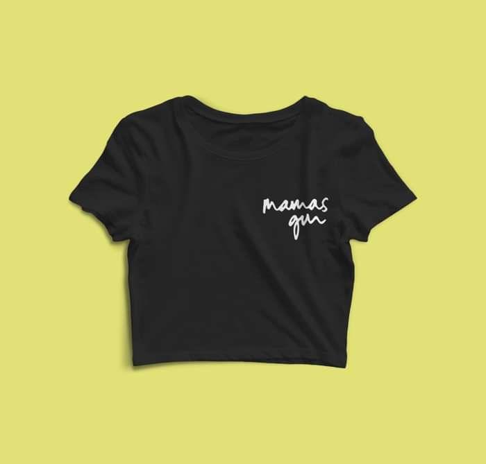 Ladies Crop T-shirt (Black) - Mamas Gun