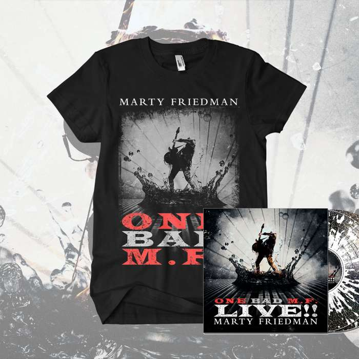 Marty Friedman - ''One Bad M.F. Live!!' Black Sparkle with Clear Splatter 2LP & T-Shirt Bundle - Marty Friedman