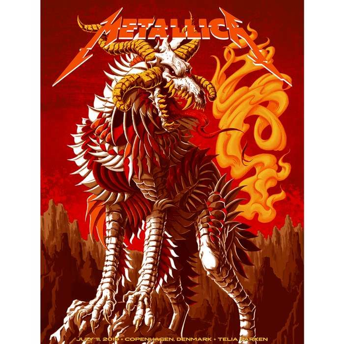Copenhagen July 11th – Limited Edition Numbered Screen Printed Poster - Metallica