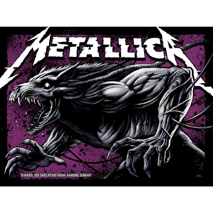 Hamburg March 29th – Limited Edition Numbered Screen Printed Event Poster - Metallica